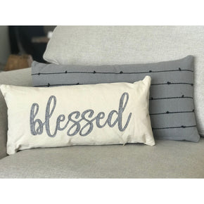 Canvas and Felt Blessed Pillow