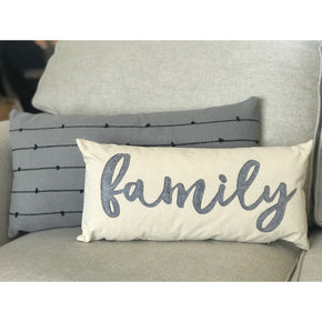 Canvas and Felt Family Pillow
