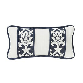White and Navy Oblong Pillow