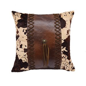 Cowhide and Faux Leather Pillow