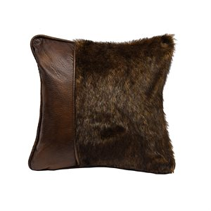 Faux Leather and Fur Pillow