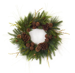 Pinecone Wreath with Bells