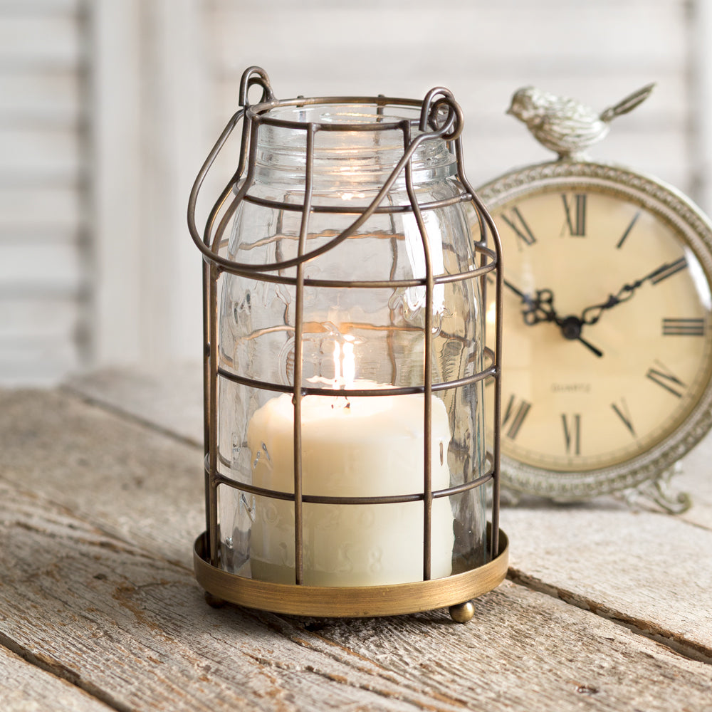 Quart Mason Jar Candle Cage - Antique Brass