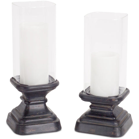 Square Candleholder with Glass