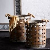 Wood and Metal Weaved Tall Baskets with Rope Handles