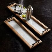 Wood and Metal Trays with Handles