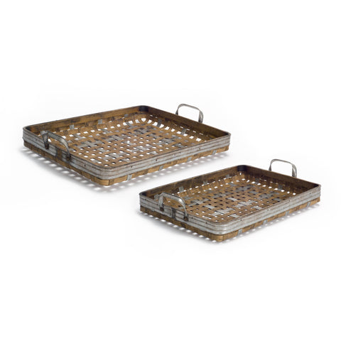 Metal and Bamboo Woven Tray (Set of 2)