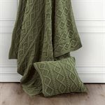Green Cable Knit Throw