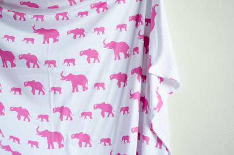 Double Sided Elephant Swaddle In Pink - Flawed