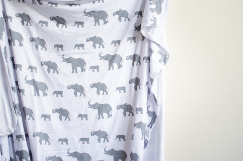 Double Sided Elephant Swaddle Blanket In Slate