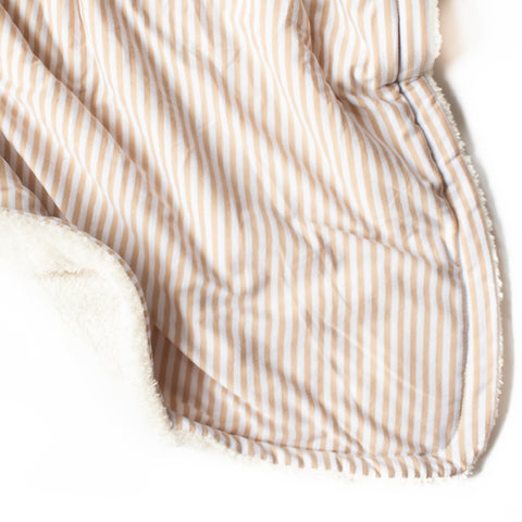 Tan Stripe Thick Plush Blanket