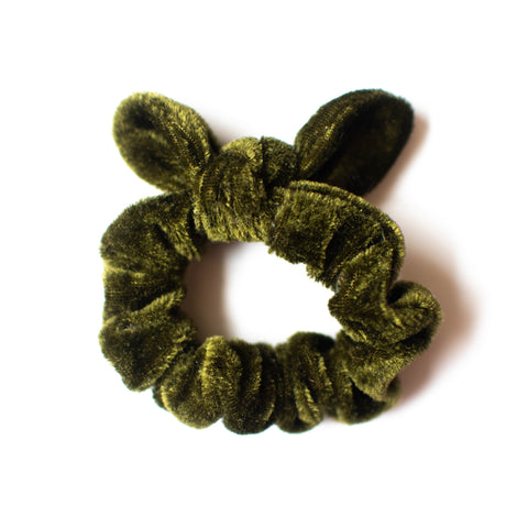 Velvet Scrunchie - Olive Green