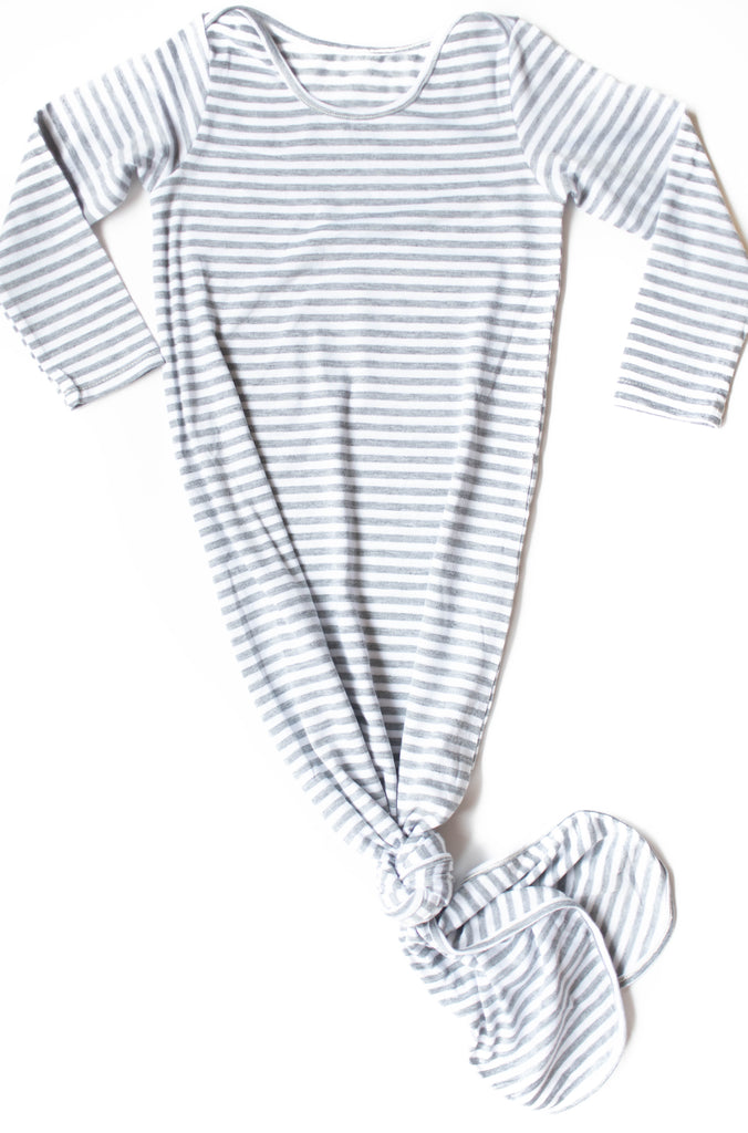 Grey Stripe Knotted Sleep Gown, Size 3-9 Months