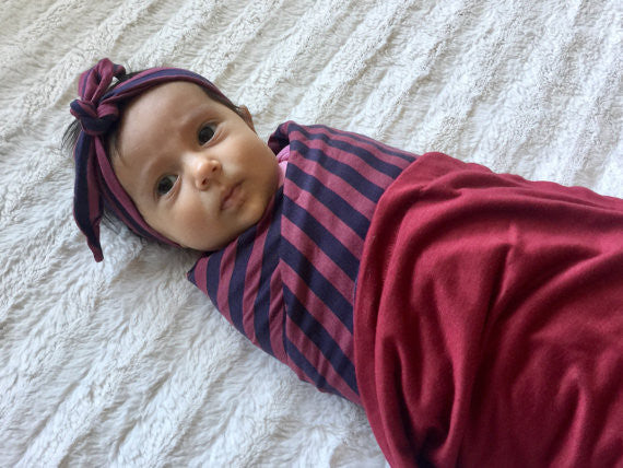 Double Sided Maroon Swaddle Blanket