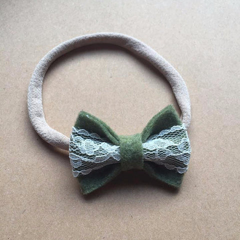Green and lace bow headband