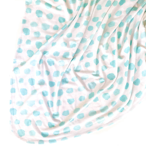 Double Sided Swaddle Blanket - Blue Watercolor Confetti