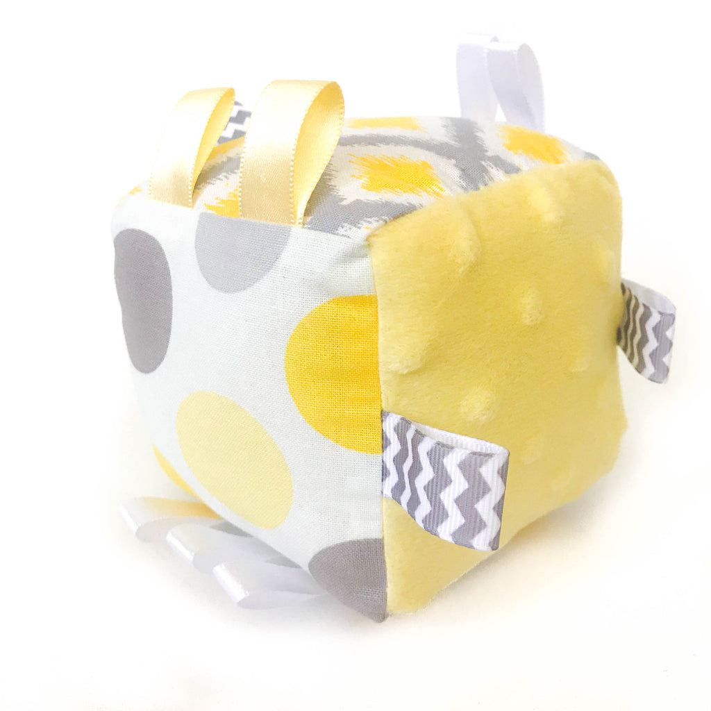 Yellow Abstract Soft Rattle Tag Block