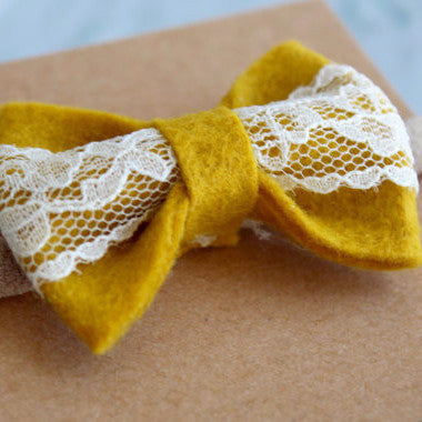 Mustard and lace bow headband