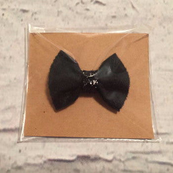 Solid Black with Sparkle Center Mini Bow Clip