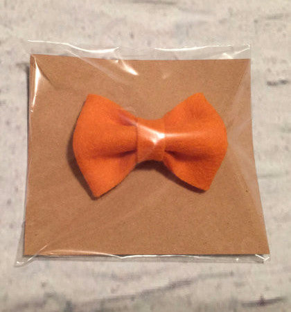 Solid Orange Mini Bow Clip