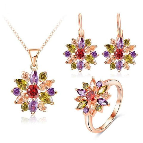 multicolor rose gold and silver jewellery set