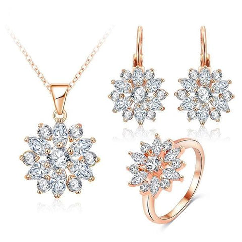multicolor and silver rose gold jesellery set