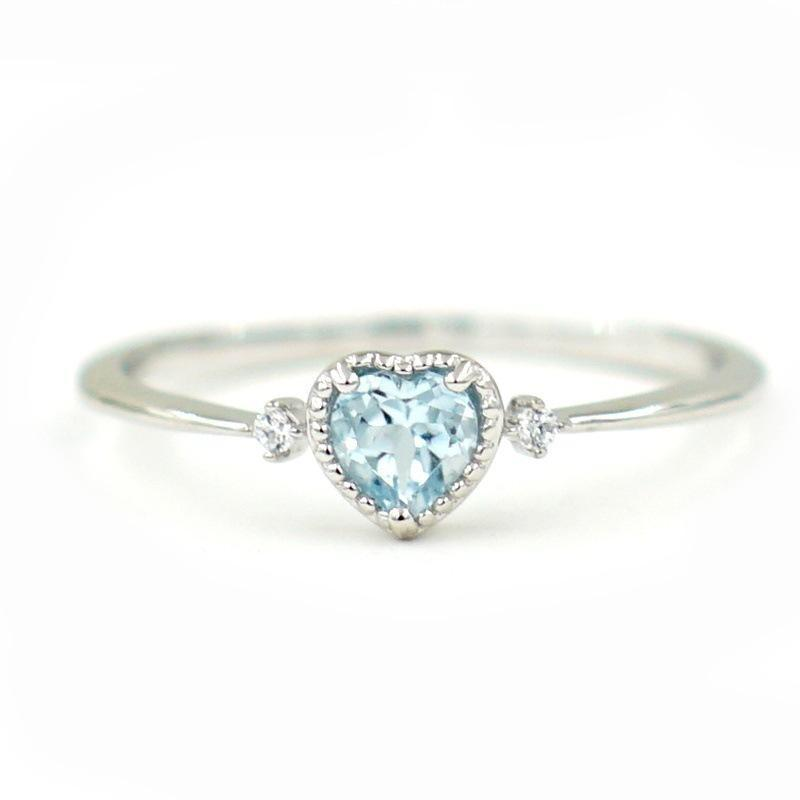 Blue sky heart ring
