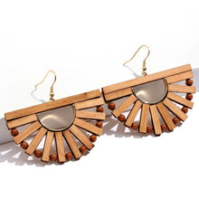 Load image into Gallery viewer, Boho wooden dangle earrings