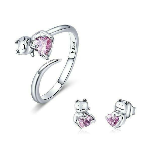 Cat lover jewellery set