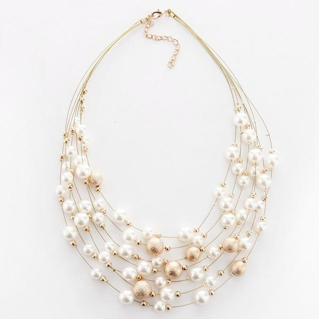 Charming pearls multi layer necklace