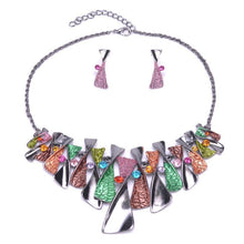 Load image into Gallery viewer, Colourful geometric jewellery set