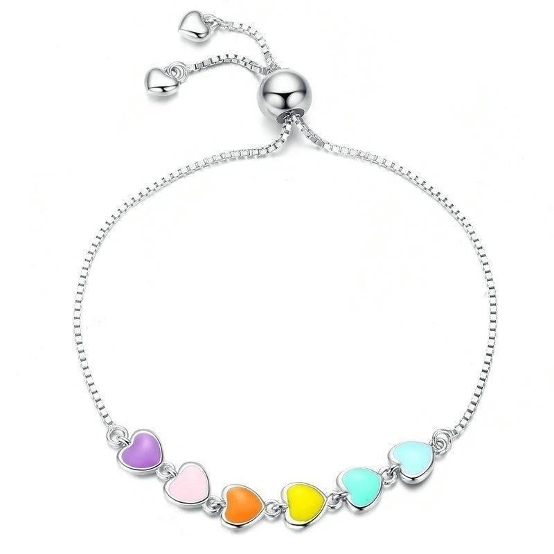 Colourful hearts bracelet