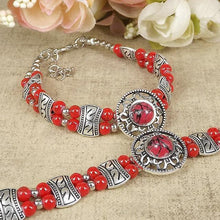 Load image into Gallery viewer, Colourful vintage silver bracelet - 4 colours