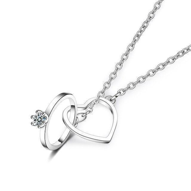 Double circle heart necklace
