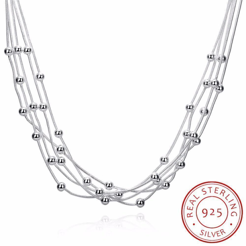 Fine silver beads necklace