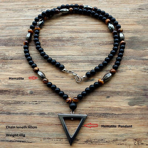 Hematite triangle pendants necklace