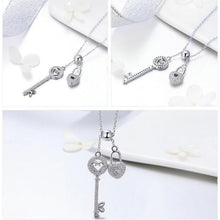 Load image into Gallery viewer, Silver key of heart lock necklace