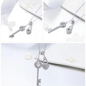 Silver key of heart lock necklace