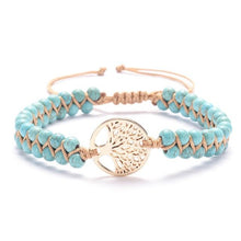 Load image into Gallery viewer, Tree of life yoga bracelet Turquoise - Gold Trendystrike