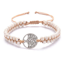 Load image into Gallery viewer, Tree of life yoga bracelet White - Silver Trendystrike