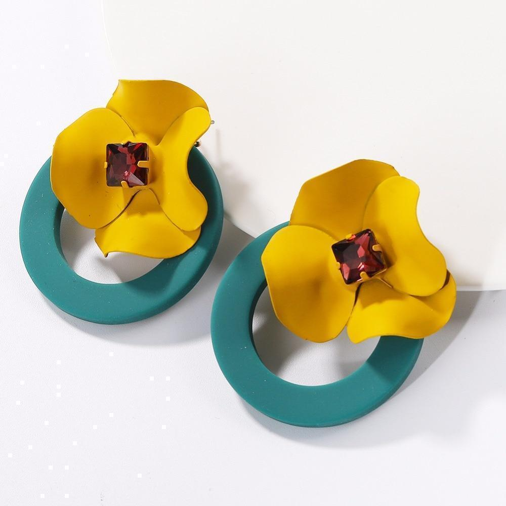 Trendy boho flower earrings