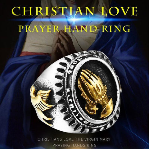Christian The Virgin Mary Praying Hands Ring