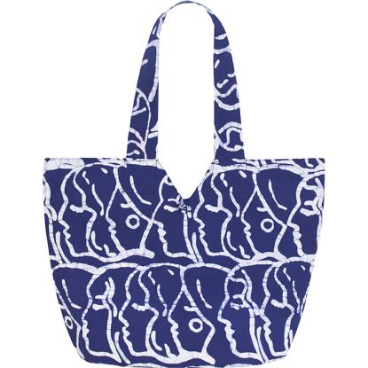 blue bag with white face outlines