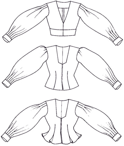line drawings of thee versions of the 124 Bolivian Milkmaid's Jacket pattern