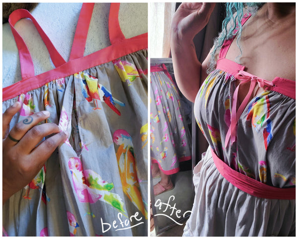 Before and after photos of front of dress adjusted for sizing with a slit and ribbon.