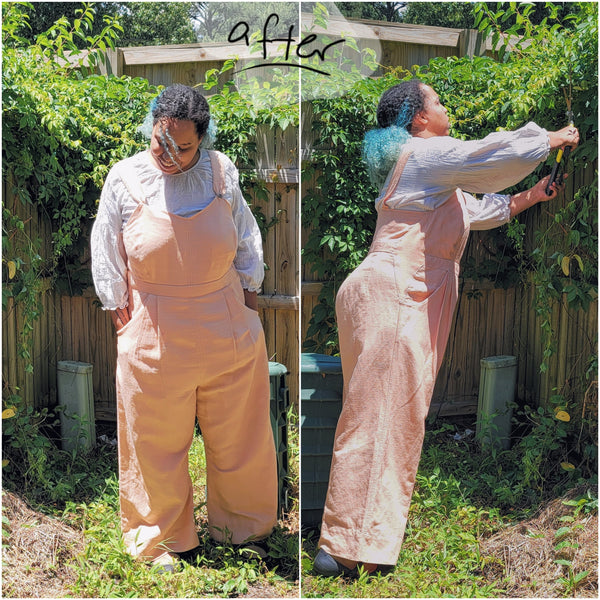 Photos of woman outside cutting a branch wearing pink overalls