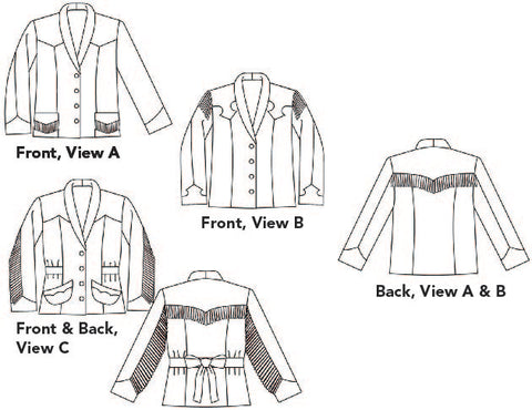 line drawings of 242 Rodeo Cowgirl Jacket