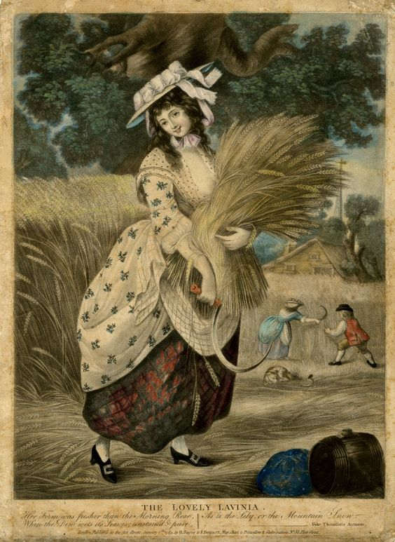 etching of woman wearing quilted petticoat working in field