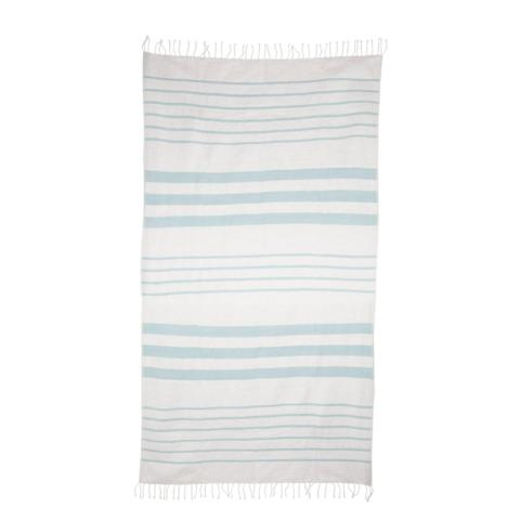 Ethiopian woven towel with blue and cream stripes.