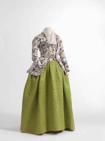 Caraco jacket in printed cotton, 1770-1790, skirt in quilted silk satin, 1750-1790